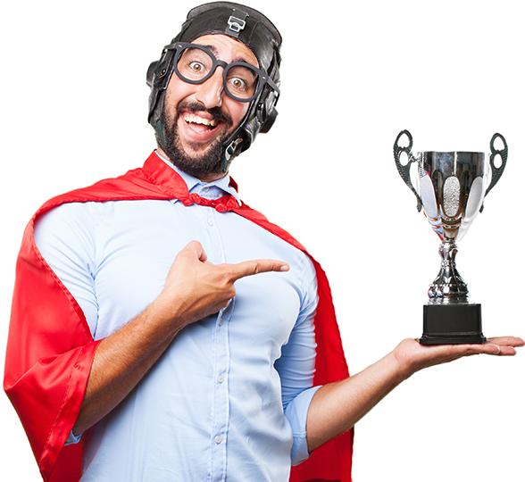 איש מחזיק גביע נצחון